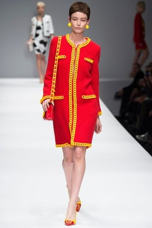 Moschino AW14: Jeremy Scott for Moschino - red boucle coat with yellow chain fringing