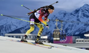 Evi Sachenbacher-Stehle of Germany in action during the Women's 15km Individual competition biathlon at the Sochi 2014 Olympic Games.
