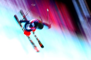 Maddie Bowman of the United States competes in the freestyle skiing halfpipe qualification round.