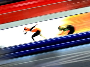 Margot Boer of the Netherlands leads during a women's 500m speed skating race.