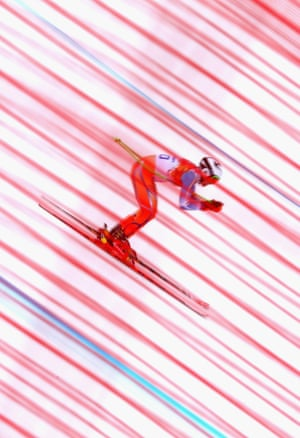 Aleksander Aamodt Kilde of Norway skis during training for the men's alpine competition.