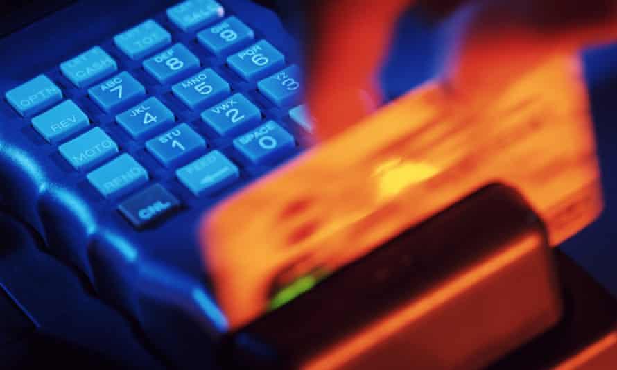 credit card swiped through machine