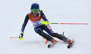 Mikaela Shiffrin of the United States in action during the Women's Slalom. She finished the first run half a second in the lead.
