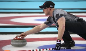 Ryan Harnden delivers a stone as Canada took the gold medal in the men's curling, beating Great Britain in the final.