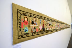 The 10-metre hand-stitched Coruscant Tapestry tells the entire story of the first six episodes of the Star Wars saga. The black borders contain quotes from the film written in Aurebesh, the basic language of the Star Wars universe