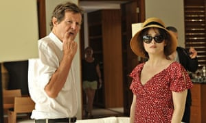 David Hare and Helena Bonham Carter during the making of Turks and Caicos.
