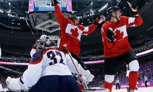 Jamie Benn celebrates for Canada.