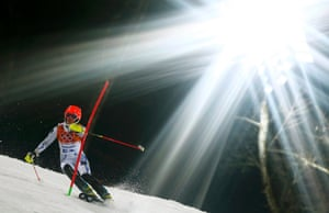 Sweden's Emelie Wikstroem clears a gate during the second run of the women's alpine skiing slalom.