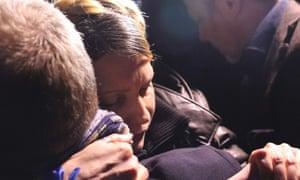 Ukrainian opposition leader Yulia Tymoshenko reacts after she was freed in Kharkiv.