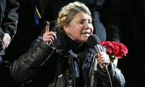 Ukrainian opposition leader Yulia Tymoshenko speaks during a rally in Kiev.