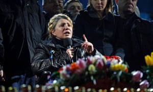 Ukrainian opposition leader Yulia Tymoshenko addresses anti-government protesters gathered in the Independence Square.