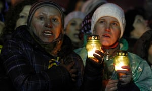 Anti-government protesters gather to hear Ukrainian opposition leader Yulia Tymoshenko in Independence Square in Kiev.