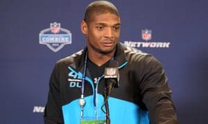 Missouri defensive end Michael Sam at the NFL Combine.