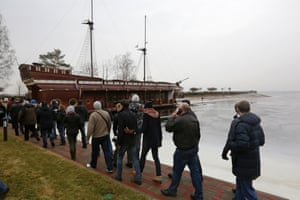 The tour party sets off to see a replica of a galleon, moored up on the estate.