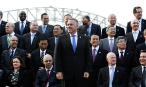 Joe Hockey with the G20 finance ministers and central bank governors in Sydney on Saturday.