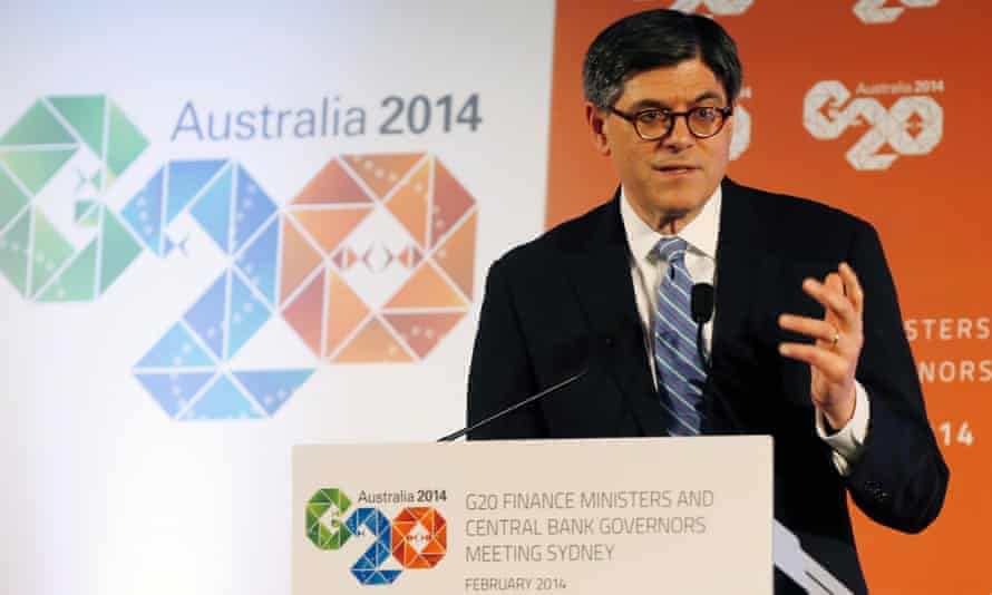 US treasury secretary Jack Lew speaks during a news conference after the G20 meeting.