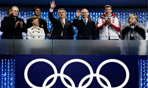IOC President Thomas Bach and President Vladimir Putin attend the Closing Ceremony of Sochi 2014