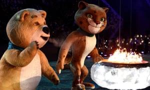 熊吉祥物在索契冬季奥运会闭幕式上熄灭奥运圣火。