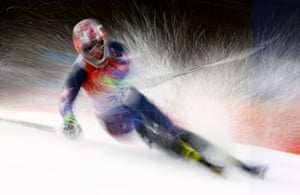 Nolan Kasper of the U.S. competes in the first run of the men's alpine skiing slalom event.