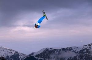 Anton Kushnir of Belarus competes in the freestyle skiing men's aerials qualification.