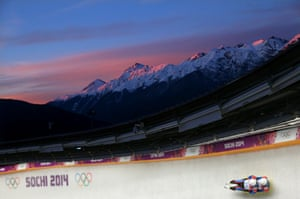Marek Solcansky and Karol Stuchlak of Slovakia make a run during the men's luge doubles.