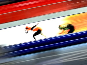 Margot Boer of the Netherlands competes during the women's 500m of speed skating event.