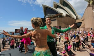 Strictly Sydney: Baz Luhmann's ballroom dancing event at the Sydney Opera House Dancers perform on the Opera House boardwalk. To celebrate the Opening of Strictly Ballroom The Musical, Baz Luhrmann directs STRICTLY SYDNEY,    the largest outdoor ballroom dancing event ever seen in Australia, Sydney Opera House. February 23, 2014.