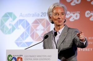Christine Lagarde, Managing Director of the International Monetary Fund speaks to the media at the close of the G20 Finance Ministers and Central Bank Governors meetings on February 23, 2014 at The Intercontinental in Sydney, Australia.