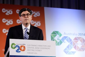 US Treasury Secretary Jack Lew speaks to the media at the close of the G20 Finance Ministers and Central Bank Governors meetings on February 23, 2014 at The Intercontinental in Sydney, Australia.