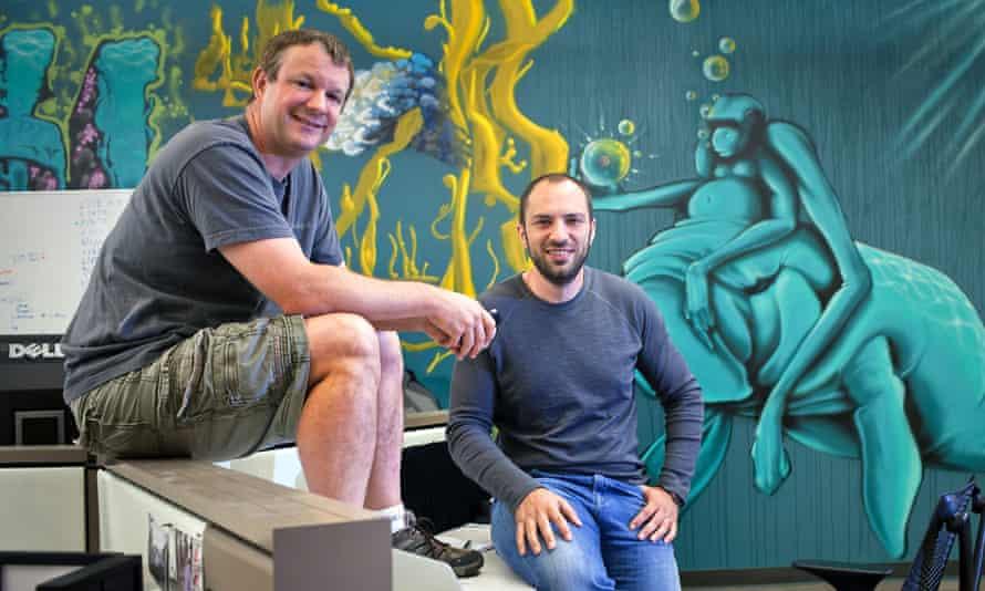 WhatsApp founders Brian Acton, left, and Jan Koum