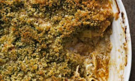 Nigel Slater's crab and prawn lasagne in a pan