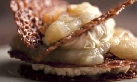 Brandy snaps with apple and vanilla cream recipe.