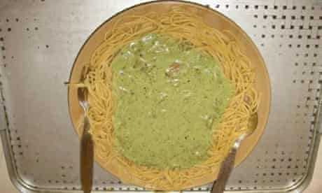 sad food - spaghetti and green sauce