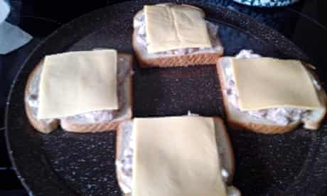 sad food white bread, tuna and processed cheese