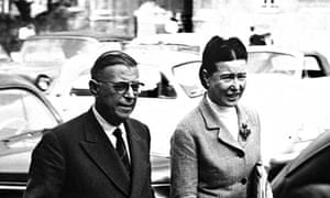 Jean-Paul Sartre and Simone de Beauvoir in Paris in the late 1950s