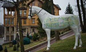 An ornamental horse in the grounds of Yanukovych's presidential compound in Ukraine
