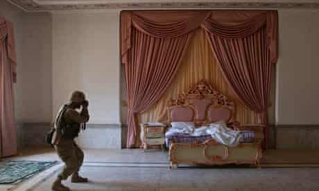 A pink bedroom at Saddam Hussein's presidential palace in Baghdad