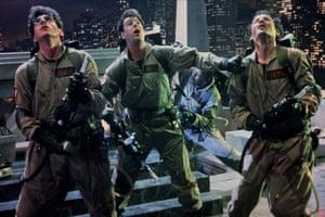 (L-R) Harold Ramis, Dan Aykroyd, Ernie Hudson and Bill Murray in 1984 film Ghostbusters.