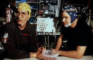 Harold Ramis and Dan Aykroyd in film Ghostbusters II (1989) directed by Ivan Reitman.