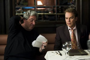 Harold Ramis and Billy Bob Thornton at the set of film The Ice Harvest in 2005.
