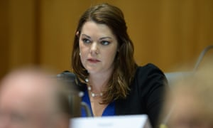 Australian Greens Senator Sarah Hanson-Young speaks during Senate Estimates at Parliament House in Canberra, Tuesday, Feb. 25, 2014.