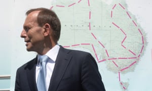 Prime Minister Tony Abbott stands next to a map of Australia as he attends the launch of the beyonblue national roadshow outside Parliament House in Canberra, Tuesday, Feb. 25, 2014.