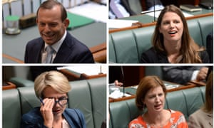 Sequence of pictures of female opposition MPs Tanya Plibersek, Kate Ellis and Julie Collins reacting Prime Minister Tony Abbott's comments about the paid parental leave scheme during question time in the House of Representatives at Parliament House in Canberra, Tuesday, Feb. 25, 2014.