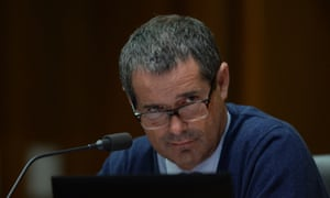 Senator Stephen Conroy reacts during Senate Estimates at Parliament House in Canberra, Tuesday, Feb. 25, 2014.