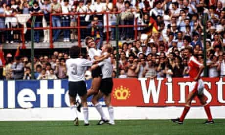 Horst Hrubesch celebrates scoring with Pierre Littbarski.