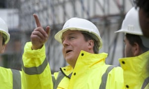 David Cameron touring a building site: but does his party represent the workers?