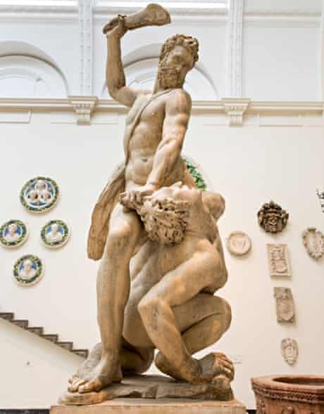Samson Slaying a Philistine by Giambologna in the Victoria & Albert Museum, London, England, UK