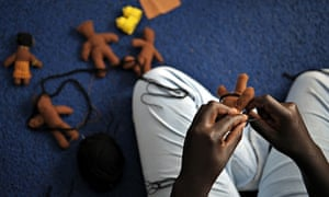 Art therapy: woman creating puppets