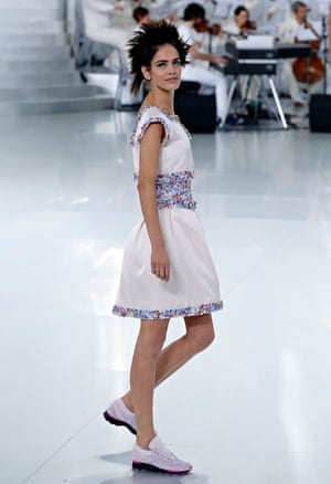 d6cb5ee8f31e8 a model in lace-up sneakers at Chanel s haute couture show in Paris in  January