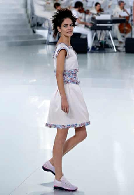 a model in lace-up sneakers at Chanel's haute couture show in Paris in January